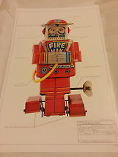 """Stampa #1 ROBOT JAPAN Classic TIN TOY SPACE 17""""x11"""" Ray Gun Pompiere F D 1955 Nuovo di zecca"""