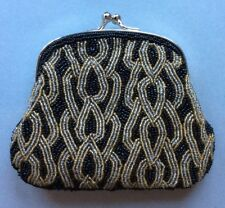 Vintage Small Purse Bag Black Gold Beaded