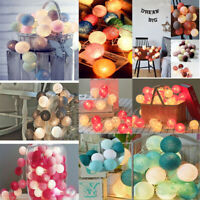 20 LED Globe Garland Cotton Ball String Fairy Lights Christmas Home Decoration
