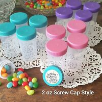 12 Pink Aqua Purple Caps 2oz  Candy Pill Bottles Doc McStuffins  4314  DecoJars