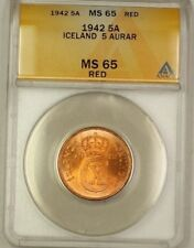 1942 Iceland 5A Five Aurar Copper Coin ANACS MS-65 Red GEM BU (H)