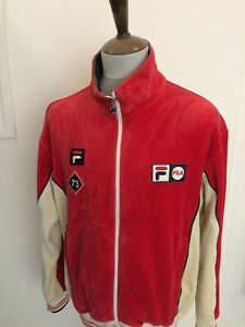 RETRO FILA VELOUR TRACKSUIT TOP SIZE LARGE RED