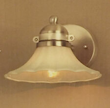1 Light Vanity Bathroom Lighting Wall Sconce White Glass Shade Brushed Nickel