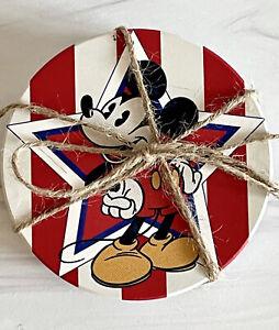 Disney Patriotic Mickey & Minnie Mouse Stars & Stripes Set Of 4 Ceramic Coasters