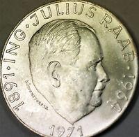 1971 Austria 50 Schillings Ing Julius Raab Almost Uncirculated- BU Silver Coin