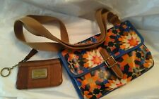 FOSSIL Key Per Coated Canvas Cross Body Bag & Brown Long LIVE Vintage Coin purse