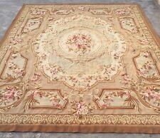 OLD HANDMADE FRENCH design original laine Aubusson Tapis tapisserie 239 x 290 cm