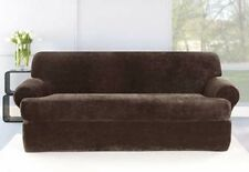 Sure fit slip cover t-cushion Stretch Plush Chocolate Brown Loveseat separate