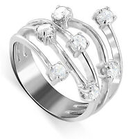 925 Sterling Silver Bouquet CZ Cubic Zirconia Ring Size 5 - 7
