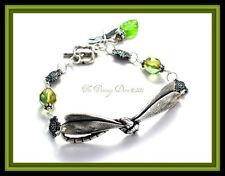 Antiqued Sterling Silver Spring Green Art Nouveau Dragonfly Bracelet