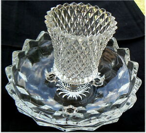 Vintage Fostoria American Pattern Footed Clear Glass Bowl Candlestick Holder