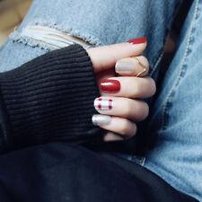 Nail Art 24pcs Wine Red &Silver Glitter False Nails Patches DIY Acrylic Tips New