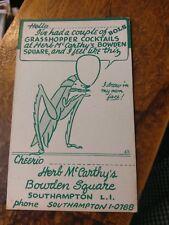 "Long Island NY Postcard Herb McCarthy's BOWDEN SQUARE"" Bar  Grasshopper Graphic"