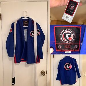 Gracie Barra Kimono Gracie United Brazilian Jiu Jitsu Kimono Robe C3 Custos Blue