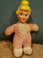 "Vtg 1950s 9.5"" Plush Girl Disney Cinderella Rubber Head Stuffed Body"