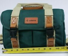 Retro Canon SLR Camera Bag Forest Green Lots of Pockets and Zippers