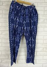 SUSSAN Casual Pants Sz 10 Cropped Style  Blue Print BNWT