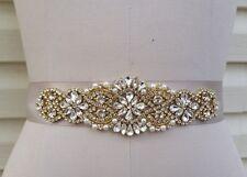 "Wedding Dress Sash Belt - GOLD Crystal Pearl Sash Belt = 7 1/4"" long"