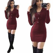 New Womens Autumn Winter Long Sleeve Slim Sweater Jumper Knit Bodycon Mini Dress