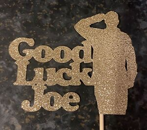 Personalised Glitter Good Luck In The Army Cake Topper