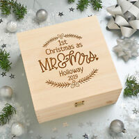 Personalised Engraved Wooden Baby 1st Christmas Gift Box Elf 1st Xmas
