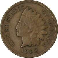 1908 S Indian Head Cent F Fine Details Bronze Penny 1c Coin Collectible