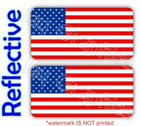 REFLECTIVE American Flag Old Glory Hard Hat Stickers <|> Decals USA Flags Labels