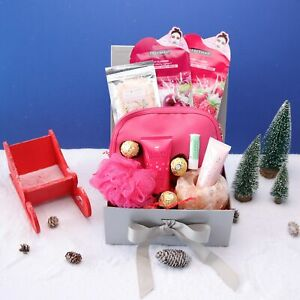 Himalayan Pink Bath and Body Self Care Christmas Pamper Hamper Gift Box for Her