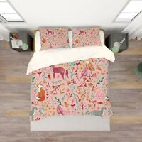 3D Pink Fox Leaves Floral Quilt Cover Set Bedding Duvet Cover Double 83