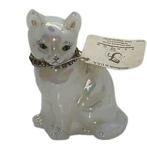 Fenton June Birthday Cat Kitten Alexandrite Necklace Opaline Sitting Cat Signed