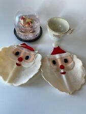 Vintage Christmas Lot, Santas Made In Japan, Snow Globe And Tiny Tea Cup