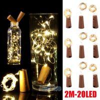 9Pcs Wine Bottle Cork Shape Lights 20/30 LEDs Night Fairy String Lights X'mas