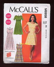 "McCALLS SEWING PATTERN PETITE DRESSES SIZE 8-16 BUST 31 1/2"" - 38""  M6958 UNCUT"