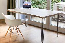 Tisch Schreibtisch Esstisch, massive Eiche 5cm, mit Hairpin-Legs und Baumkante