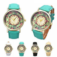 New Women Watch Floral Annulus Faux Leather Band Digital Quartz Dial Wrist Watch