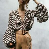 Runway Women Long Puff Sleeve Black White Zebra Print Blouse Top Portrait V Neck