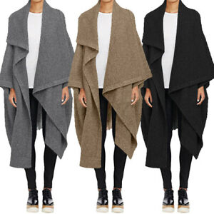 UK Womens Open Front Lapel Coat Jacket Batwing Sleeve Casual Tops Cape Poncho