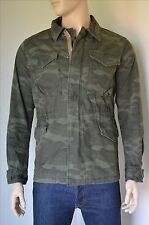 NUOVO Abercrombie & Fitch vintage giacca militare verde mimetico camouflage S RRP £ 130