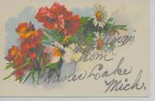 """Miner Lake Michigan """"Greetings From"""" flowers glittered antique pc Z25948"""