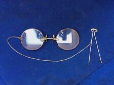 ANTIQUE PINCE NEZ GLASSES COMPLETE IN ORIGINAL CASE W/HAIR PIN 12KGF