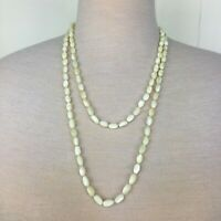 """Vintage Mother of Pearl Flapper Length Necklace 55"""" Antique Free Shipping"""