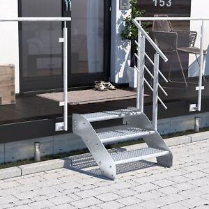 Altona I  3 Stufen, Metalltreppe Gartentreppe Aussentreppe Gitterroststufen