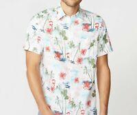 NWT Men's Nautica Classic Fit Palm Tree Linen Button Front  Short Sleeve Shirt
