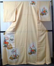 Authentic Japanese yellow silk kimono for women, long, good c.  (I398)