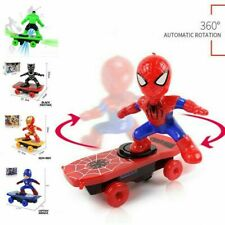 Electric Spiderman Scooter Skateboard Kids Toy With Light Music 360° Tumbler S35