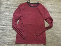 J Crew Adult Mens Large Striped Tee T Shirt Long Sleeve Red Cotton H2608