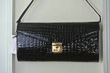 Zina Eva NWT Handbag Clutch Genuine Leather Alligator Embossed Black Patent