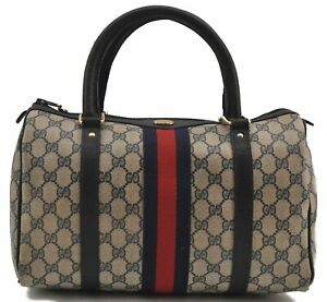 Authentic GUCCI Sherry Line Hand Boston Bag GG PVC Leather Navy Blue E1953