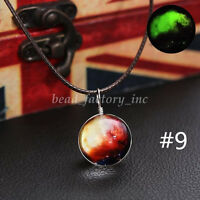 1X Space Galaxy Stars Universe Astronomy Glass Glow in the Dark Pendant Necklace