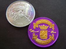 1995+1997 Centaur Plain Aluminum+Gold on Purple King Dual Mardi Gras Doubloons